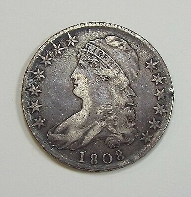 BARGAIN 1808 Capped Bust/Lettered Edge Half Dollar EXTRA FINE Silver 50-Cents