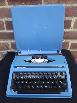 Vintage Blue Silver Reed SR10 Portable Typewriter & Case Made In Japan