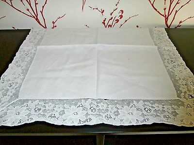 """SMALL OFF WHITE COTTON with MACHINE LACE TABLECLOTH ~ 22"""" square"""