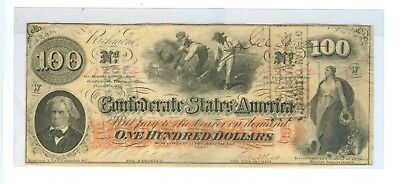 1862 One Hundred Dollars Confederate States Of America Richmond,va - Cir