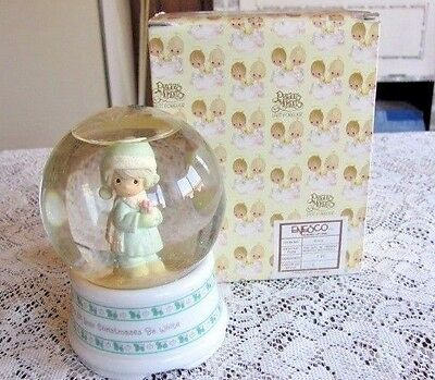 1990 Precious Moments Waterball or Waterglobe May All Your Christmases Be White