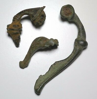 Iron Age, Celtic or Roman Bronze Bow Brooch Fragments x 3, 1st to 3rd Century