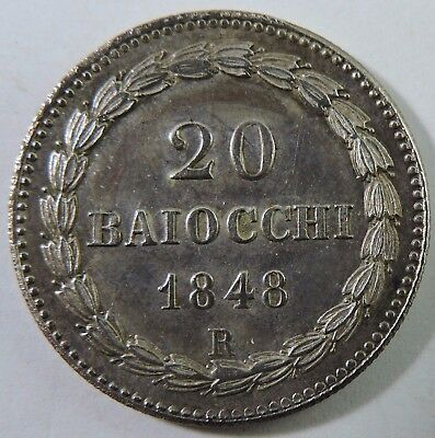 Papal States 1848-R 20 Baiocchi Silver Coin