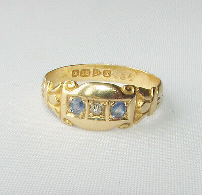 Old antique Edwardian 18ct gold diamond sapphire ring size Q Chester 1904