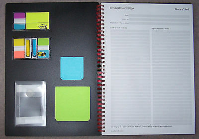 "Black n' Red 140-Page Twin-Wire Notebook  - 11.34""x8.25""  + Extras- E67008U -New"