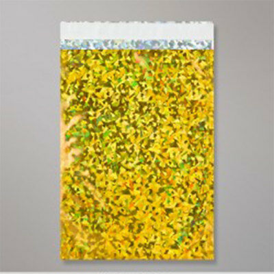 """500 Metallic Gold Holographic Foil Mailing Bags 12.5"""" x 17.75"""""""