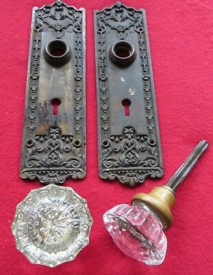 Pair Of Vintage Glass Door Knobs With Ornate Solid Cast Iron Floral Backplates