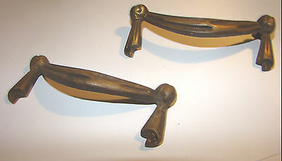 2  Vintage BRASS Drawer Pull  Dresser Nightstand HARWARE
