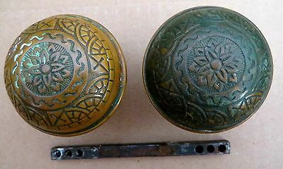PAIR LATE VICTORIAN BRASS DOORKNOBS READING HARDWARE Co.? c1890s