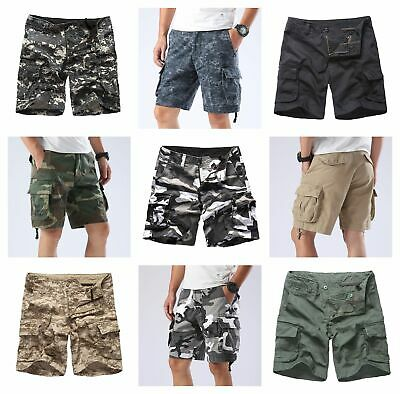 Mens Army Style Cargo Shorts Work Camping Fishing Camouflage Outdoor Shorts