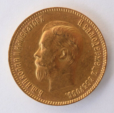 1903 Gold Russia 10 Roubles / Rubles AP