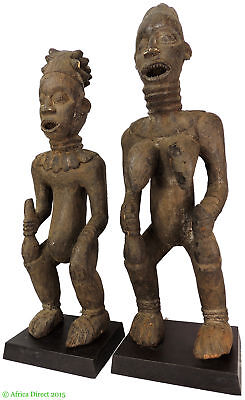 Bangwa Couple Cameroon Africa on Stands 33 Inch