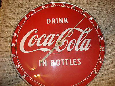 """Original 1950's Drink Coca Cola In Bottles 12"""" Round Glass Face Thermometer Usa"""