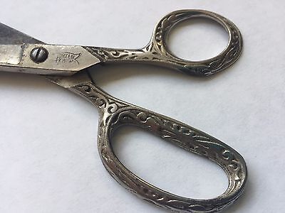 "Vintage Ornate Silver Plated Scissors Victorian ""Made in America"" 5.75 c1900"