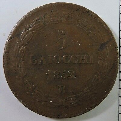 Papal States 1852-R 5 Baiocchi Copper Coin