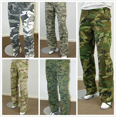 Mens Army Military Outdoor Camping Hunting Camo Camouflage Fishing Cargo Pants