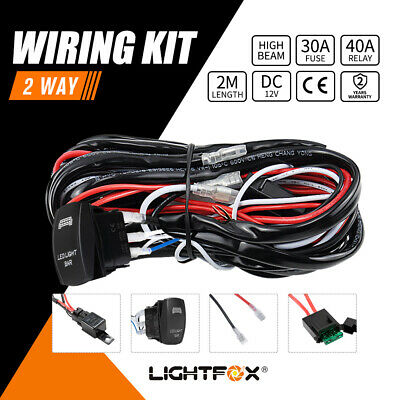 2 Way Universal Wiring Loom Harness Light Bar Rocker Switch Kits 12V 40A Relay