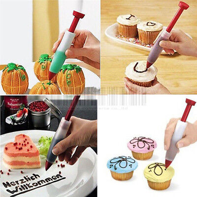 Silicone Fondant Cake Pen Pastry Icing Writing Syringe Baking Decor Tools New