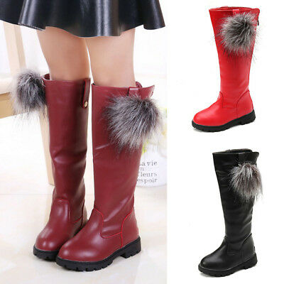 Baby Kids Girls Knee High Boots Wedge Heel Back Zipper Shoes Wedding Party Boots