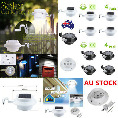 1/4X 3LED Solar Powered Gutter Fence Light Outdoor Garden Wall Pathway Lamp Bulb