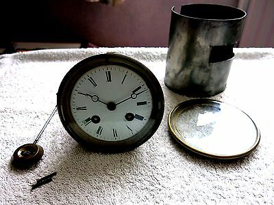 Antique 1835 Antiqu France Mantel Clock Movement & Pendulum By Japy Freres