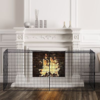 Extendable Steel Fireplace Screen Fence Fire Guard Child Pet Safe Foldable