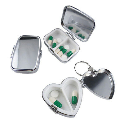 Metallo argento Pill Box CORSA SCATOLINA regalo portatile TABLET CASE x 1