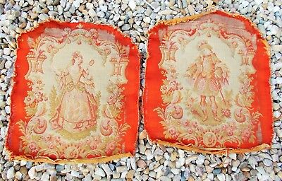 Fine Pair Of French Hand Woven Silk And Wool Chateau Tapestry Panels Circa 1860