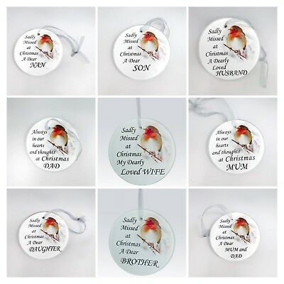 Robin Christmas Tree Hanging Glass Memorial Ornament - Choice of Relative