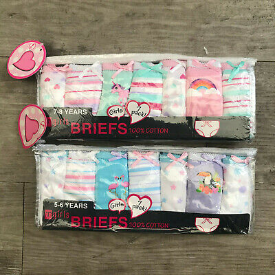 7 x Pairs Girls Flamingo Unicorn Knickers Briefs Underwear 100% Cotton Age 2 - 6