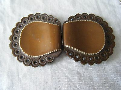 Vintage 2 Part Brown Plastic Belt Buckle
