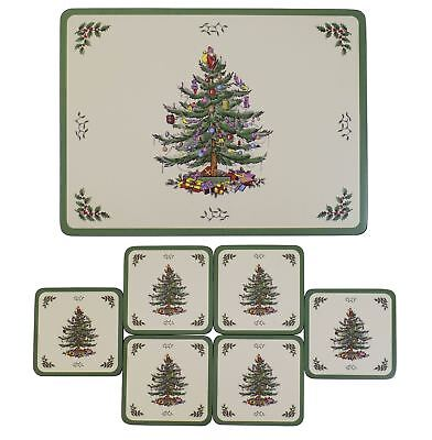 Set Of 6 Spode Christmas Tree Design Cork Backed Placemats & Coasters