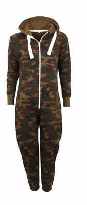 Kids Army Camouflage Hooded All In One Size Boys Girls Warm Fleece Tracksuits UK