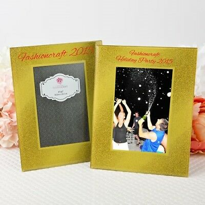 12 Personalized Printed Gold Beveled Glass Wedding Holiday Centerpiece Frames