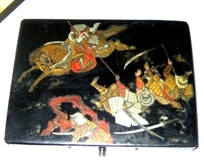 Oriental decoupage cosmetics box with Battle decoration