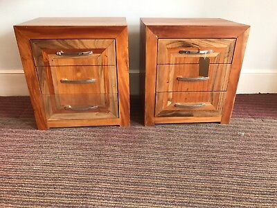 solid wood  bedside chests, bedside cabinets, drawers ex display