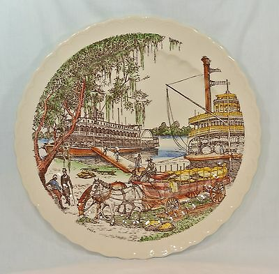 VERNON KILNS California Pottery BITS OF THE OLD SOUTH Chop Plate 14 inch Platter