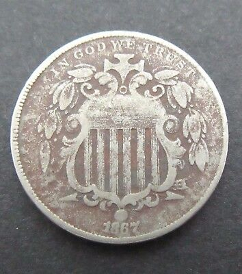 1867 Shield Nickel~Original~No Rays~