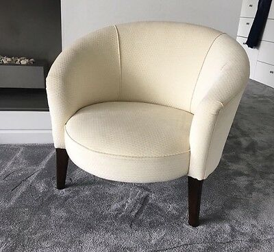 Cream White Chair Low Armchair Stool Art Deco