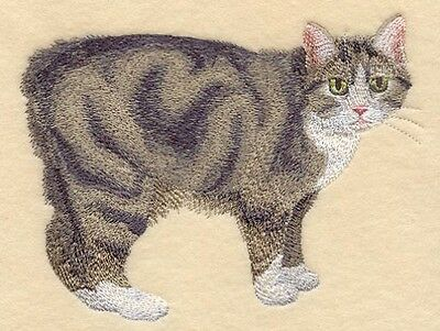 Embroidered Long-Sleeved T-Shirt - Manx Cat C7953