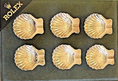 Vintage Sterling Silver Clam Shaped Ash Trays Circa 1950's 6 Pieces