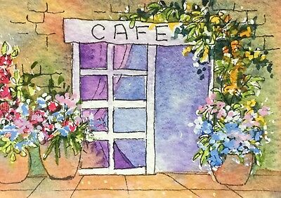 Original Art Small ACEO painting watercolour French Cafe by Pamela West
