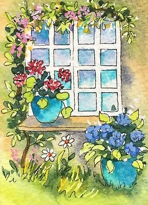 Original Art Small ACEO painting watercolour Turquoise Pots by Pamela West
