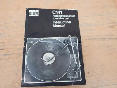 Vintage BSR C141 Automatic Manual Turntable Unit Instruction Manual
