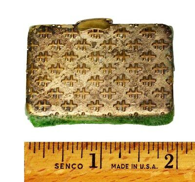 sewing needle case book metal 19th c repousse  miniature antique original 1800