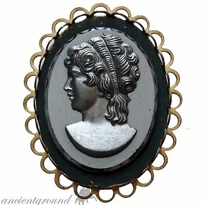 Late British Period Cyprus 1900 Ad Black Gameo Pendant With Fimale Bust Mount
