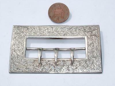Large Victorian Engraved Sterling Silver Buckle 1894 Colen Hewer Cheshire Lot 91