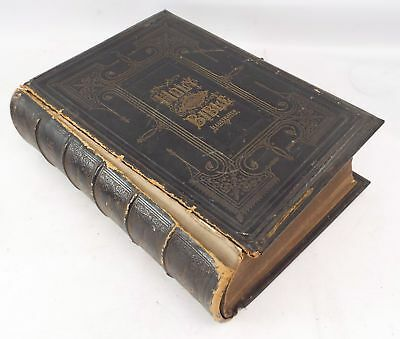 Antique THE GRAPHIC FAMILY BIBLE Leather-bound Hardback Book circa 1875 - M18