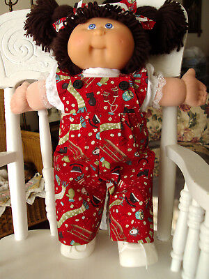 "HANDMADE 16-18""Cabbage Patch Kids Doll Clothes WINTER FUN Ruffled Bibs Outfit"