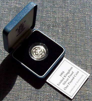 1994 silver proof £1 (One Pound); cased + COA as issued
